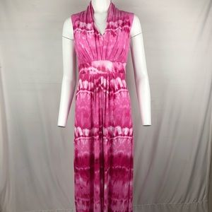 Chico's Maxi Dress Size 1 Pink/white tie dye